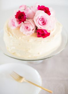 floral topped cake