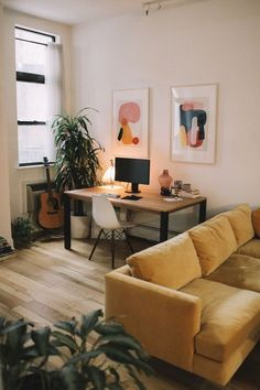 Cozy and modern living room and home office The phras. Cozy and modern living room and home office The phrase loft conversion w Decoration Ikea, Decoration Design, Living Room Decor, Living Spaces, Living Rooms, Work Spaces, Living Room With Desk, Office Spaces, Bedroom Decor