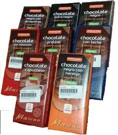 Gama de chocolates Mascaco 8 diferentes sabores. Cacao de El Ceibo en Bolivia y azucar de Filipinas.