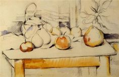 Pot of Ginger and Fruits on a Table - Paul Cezanne