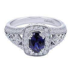 Gabriel & Co 14k White Gold Victorian Blue Sapphire Ring