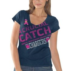 San Diego Chargers Ladies Breast Cancer Awareness Crucial Catch Fanfare  T-Shirt - Navy Blue 2f7fdfa4d