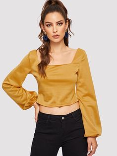 8a49967fe1344c Casual Plain Top Regular Fit Square Neck Long Sleeve Bishop Sleeve  Pullovers Yellow Square Neck Crop Top
