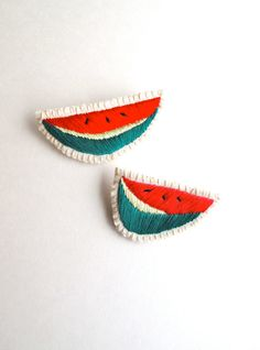 Watermelon hand embroidered brooch set of two by AnAstridEndeavor #juicyjewelry