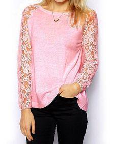 Stylish Ladies Women Fashion Casual Lace Long Sleeve Round Neck T-shirt Tops
