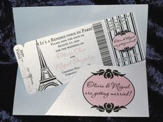 Paris Themed Boarding Pass Invitations & More Design Fee. $20.00, via Etsy.