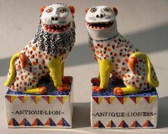 David Cleverly's ceramics: a contemporary artist's reinterpretation of century Staffordshire ceramic pieces. Ceramic Clay, Ceramic Pottery, Fu Dog, Ceramic Figures, Pottery Making, Ceramic Design, Sculpture, Contemporary Artists, Modern Contemporary