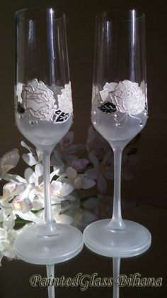 CRYSTAL SET of 2  White rose wedding champagne flutes with Swarovski crystals