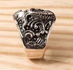 If you are looking for both spellbinding and meaningful accessory, our Onyx Sterling Silver Koi Gothic Ring is right up your street. It's made of solid silver Engagement Ring Prices, Gothic Engagement Ring, Gothic Wedding Rings, Gothic Rings, Sterling Silver Mens Rings, Marquesan Tattoos, Sea Glass Jewelry, Jewelry Rings, Silver Jewellery