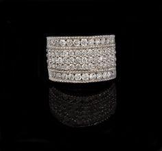 Ladies 10k White Gold 1.32cttw Diamond Wedding Band, Fashion Ring $637