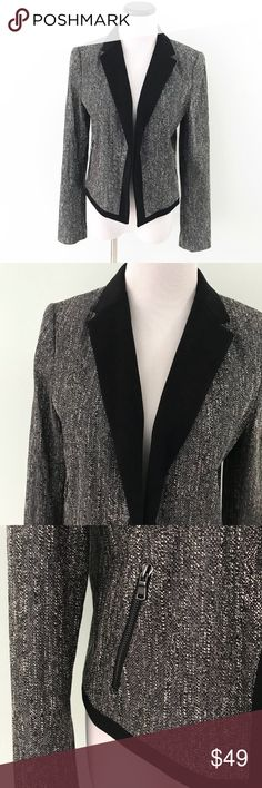 """ANN TAYLOR Black gray Tweed Moto Blazer Jacket Worn for a few hours only, looks new. Stunning Blazer/Moto Jacket from Ann Taylor. Zipper pockets on front. Black lining. Black lapel. Length 20.5"""". Chest 19.5"""". Cotton, polyester, nylon and spandex. Heavy and high quality. Ann Taylor Jackets & Coats Blazers"""