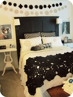 LOVE black crochet blanket over white duvet... lacey touches