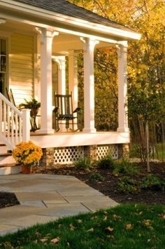 Front Porch, Square Columns, no railing. With new steps and iron handrails, think front porch would look much better without that wooden rail all the way around. Porch Without Railing, Front Porch Columns, Front Porch Design, Front Porches, Porch Pillars, Front Walkway, Front Doors, Porch Railing Designs, Porch Railings