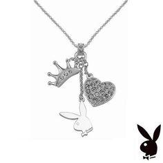 Playboy Necklace Bunny Heart Tiara Crown Charms Pendant Swarovski Crystals RARE #Playboy #Pendant