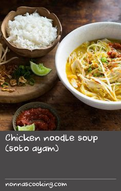 """Chicken noodle soup (soto ayam)   Rich and fragrant, this Indonesian chicken soup is a much-loved classic. It's a recipe that brings people together – place the broth in the middle of the table surrounded by the condiments and let your guests """"build"""" their soup to suit their own tastes."""