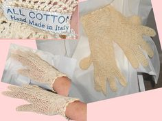 Ladies Gloves..SALE.. Hand Made In Italy Vintage Lacy Ivory S M Small to Med Womens Ladies Hands GORGEOUS.
