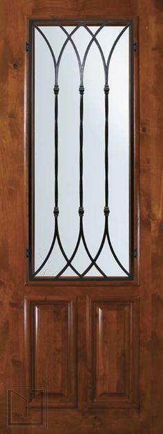 Slab Single Door 96 Wood Alder Warwick 2 Panel 2/3 Lite Wrought Iron