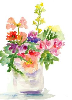 """""""A Pastel Bouquet"""" watercolor by Susan G. Magdangal at pineapplebaystudio"""
