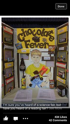 Chocolate Fever - GREAT IDEA -Reading Fair Projects- instead of science fair or just as a class project Reading Fair, 5th Grade Reading, Reading Lessons, Reading Activities, Teaching Reading, Learning, Library Activities, Library Lessons, Reading Groups