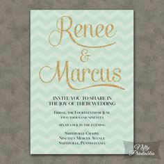 Mint & Gold Wedding Invitation  Mint Green by NiftyPrintables