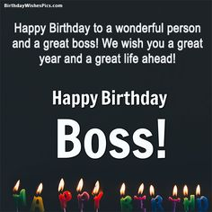 It is very important to let your boss know he/she is honored and that you are happy to be working together. Get birthday wishes for boss with images from here. Happy Birthday Sir Wishes, Birthday Greetings For Boss, Birthday Message For Boss, Inspirational Happy Birthday Quotes, Happy Birthday Quotes For Daughter, Boss Birthday Quotes, Birthday Wishes Quotes, Happy Birthday Boss Funny, Quotes Inspirational