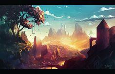Golden Hills, Radu Cosmin Alexandru on ArtStation at https://www.artstation.com/artwork/aLPg8