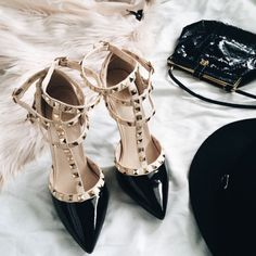 We adore the Valentino Rockstudded heels in black and nude.