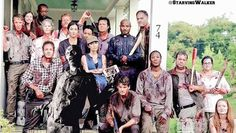 Season 6 Walking Dead cast on set
