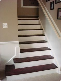 Thrifty Decor Chick: My biggest DIY project: The stairs Basement Staircase, House Stairs, Staircase Ideas, Staircase Remodel, Thrifty Decor Chick, Stair Landing, Small Basements, Painted Stairs, Interior Stairs