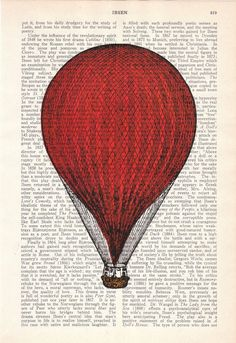 Red Hot Air Balloon Print Wall art Dictionary Print by PRRINT