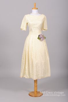 1950 Lace Vintage Wedding Dress : Mill Crest Vintage