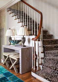 House of Turquoise: The English Room/staircase carpet/desk design House Of Turquoise, Turquoise Table, Devine Design, Interior Decorating, Interior Design, Studio Interior, Carpet Stairs, Room Carpet, New House Plans