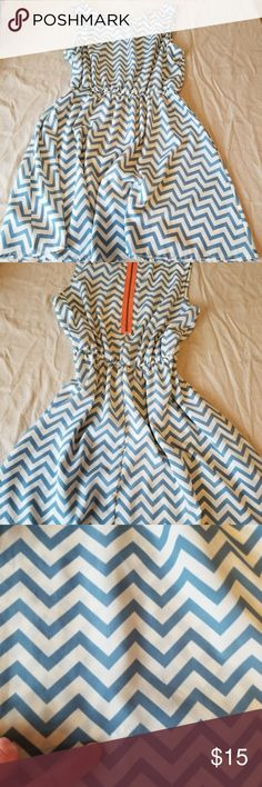 Babydoll dress - Chevron Cute Chevron dress! - somewhat see through. don't  be a mess like me and wear a pink bra with it....short but hides the bum well. Makes the legs look good!!  - tiny white stain. picture is included **please note - there is no size on this dress. guessing based on my size - medium still pretty lose on me Sage Dresses Mini