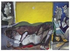 Sleeping Woman under the Moonlight - Dimitris Mytaras Sleeping Women, Art Database, Moonlight, Surrealism, Woman, Painting, Painting Art, Paint, Draw