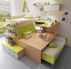Camerette bambini salvaspazio - Cameretta con letti a forma di L ...