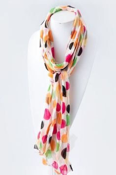 This scarf seriously matches everything in my closet!  Crinkled Multi Color Dot Scarf