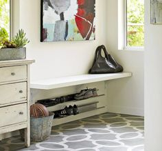 Allison Bloom, an interior designer in San Francisco, believes you can outfit the entry with a boot-and-shoe drop-off zone and still provide a warm welcome. Here, she explains how. Foyer, Entryway, Drop Zone, News Space, House Inside, Spring Cleaning, Mudroom, Old Houses, Organization Ideas