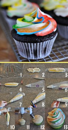 Tie dye frosting for cupcakes - rainbow topping on cupcakes is really awesome . - Tie dye frosting for cupcakes – rainbow topping on cupcakes is really awesome; Tie Dye Frosting, Icing Frosting, Rainbow Frosting, Chocolate Frosting, Rainbow Cupcakes, Frosting Colors, Rainbow Swirl, Icing Recipe, Mint Chocolate
