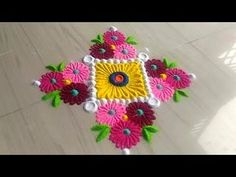 2 minutes rangoli design series easy and simple method in unique style by Jyoti Rathod Easy Rangoli Patterns, Easy Rangoli Designs Videos, Rangoli Designs Latest, Simple Rangoli Designs Images, Rangoli Colours, Rangoli Border Designs, Rangoli Ideas, Colorful Rangoli Designs, Rangoli Designs Diwali