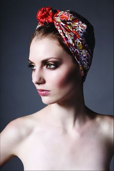 Beautiful head scarf in Lyndsay Lilly Keys make-up.