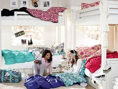 Ruched Sleepover Bedroom | PBteen want that blue one with the flowers!!!