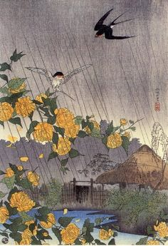 1916 - Shôtei,Takahashi - Village with Japanese yellow rose