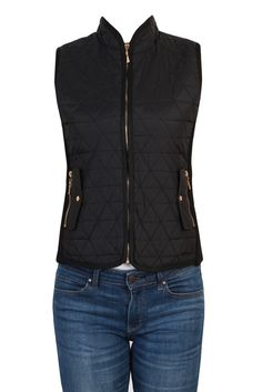 Women Zip Up Sleeveless Quilted Padded Puffy Down Vest-Black