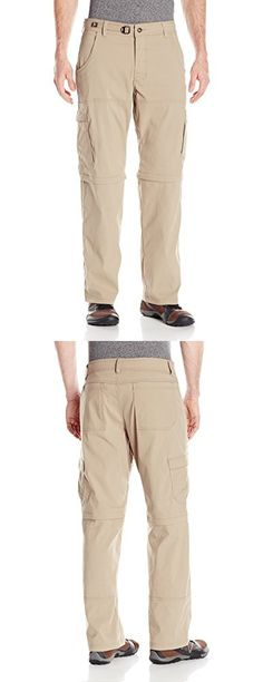 "PrAna Men's Stretch Zion Convertible 30"" Pants, Dark Khaki, Size 33"