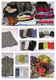 What to Pack for Travel to Europe - your homebased mom- Gives a good outline of what she truly took. This seems like a packing outline I could follow.