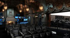 Amazing Theater Rooms | Amazing Bat Cave media room Dark Knight Themed Home Theater; Every ...