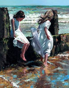 Seaside Oil Painting,by Sherree Valentine-Daines 1956 (British impressionist painter)