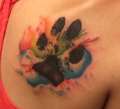 Paw print tattoo/Watercolor Tattoo