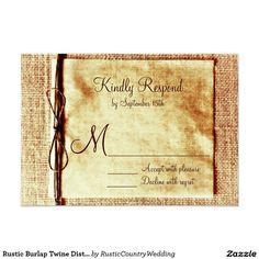 Rustic Burlap Twine Distressed Wedding RSVP Cards