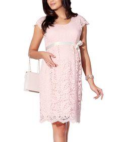 Powder Lace Maternity Cap-Sleeve Dress